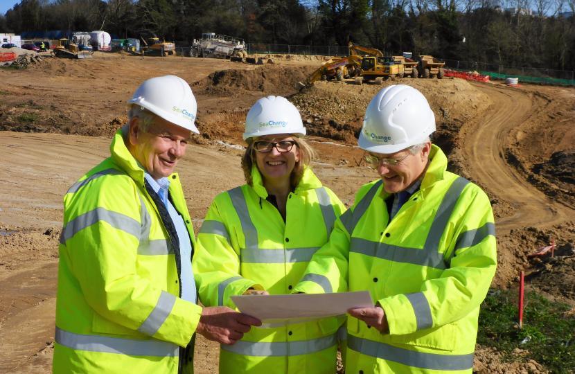 Cllr Keith Glazier, Amber Rudd MP & Andrew Jones MP on Queensway Gateway site